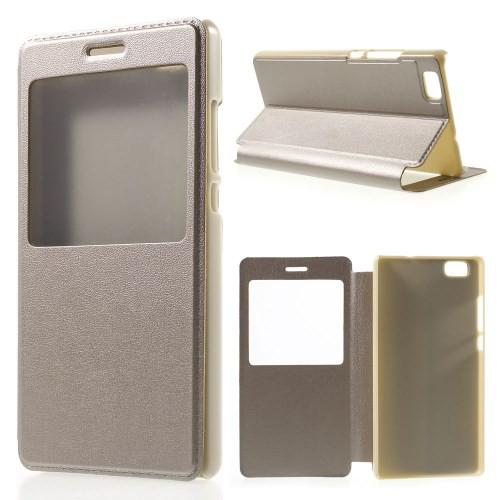 Flip Cover Schutz-Hülle zu Huawei P8 Lite - Handy-Tasche Case Fenster Etui Book