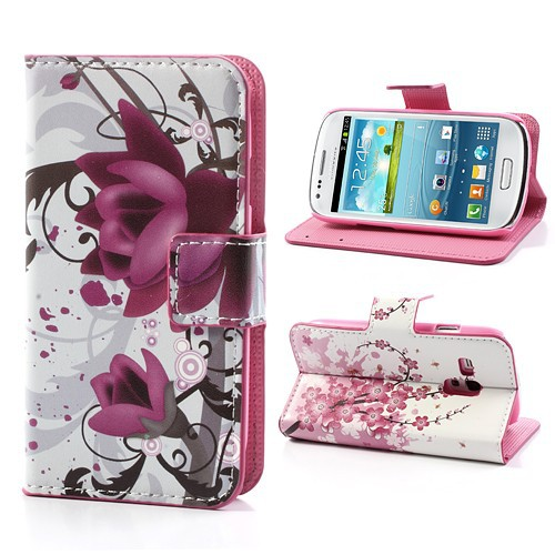 flip case handy h lle zu samsung galaxy s3 mini book lotus. Black Bedroom Furniture Sets. Home Design Ideas